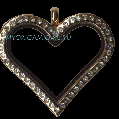 Купить кулон Золотое сердце с кристаллами My Origami Owl