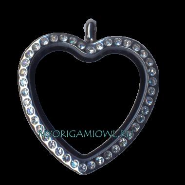 Купить округлое сердце My Origami  Owl с кристаллами