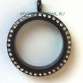 Черный медальон с кристаллами, 25мм