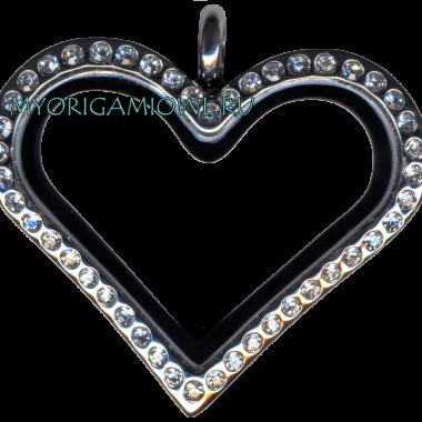 Серебряное сердце — кулон My Origami Owl с кристаллами